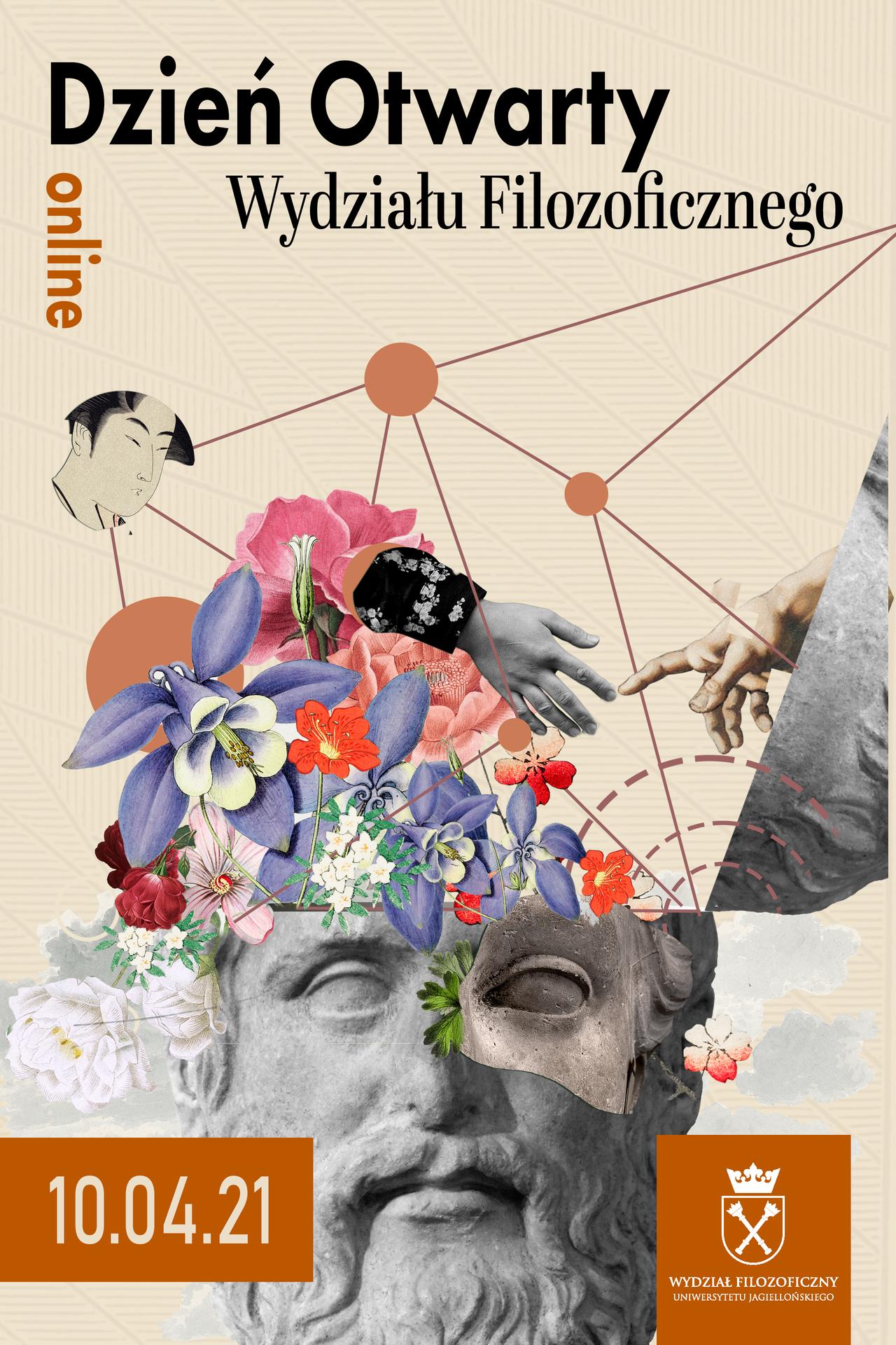 Grafika przedstawia plakat Dnia Otwartego Wydziału Filozoficznego.